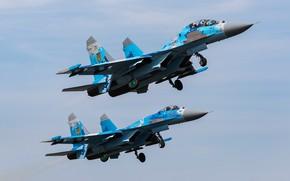 Picture pair, flight, Su-27, Su-27UB, Ukrainian air force