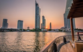 Picture the city, boat, Thailand, Bangkok