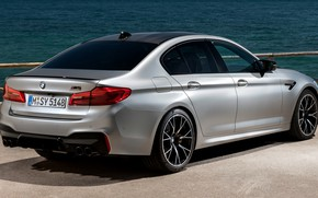Picture water, grey, BMW, back, sedan, side view, 4x4, 2018, four-door, M5, V8, F90, M5 Competition