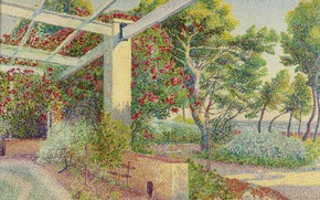 Picture landscape, picture, Gazebo, pointillism, Louis Gaidan