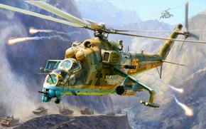 "Picture USSR, Mi-24V, The war in Afghanistan, Soviet attack helicopter, ""Crocodile"", Flares"