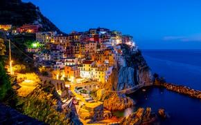 Picture sea, night, city, lights, lights, coast, home, boats, Italy, Bay, sea, landscape, Italy, coast, panorama, …