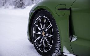 Picture snow, wheel, Porsche, green, 2020, Taycan, Taycan 4S