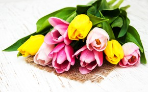 Picture flowers, bouquet, tulips, pink, yellow, wood, pink, flowers, tulips