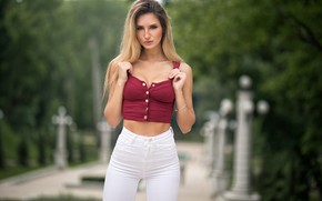 Picture look, sexy, Park, model, portrait, jeans, makeup, figure, hairstyle, blonde, topic, is, posing, bokeh, Victoria, …