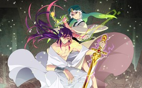 Picture sword, knife, guys, Magi The Labyrinth of Magic, Magi - the magic labyrinth
