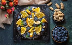 Picture flowers, berries, roses, oranges, plate, cake, slices, peanuts, blueberries