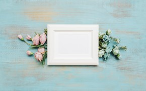 Picture flowers, background, blue, frame, flower, wood, decor, bouquets, eustoma