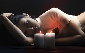 Picture girl, portrait, candles