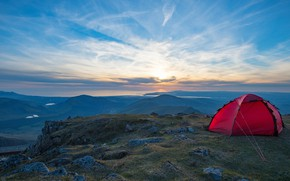 Picture the sky, clouds, mountains, height, tent, tourism