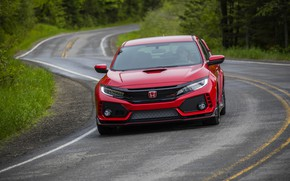 Picture road, red, Honda, front view, hatchback, the five-door, 2019, Civic Type R, 5th gen, FK8