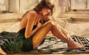 Picture girl, relax, morning, watercolor, long hair, massage, Nega, weekend, солнечная комната, обнаженная в полотенце, сидя …