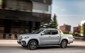 Picture movement, street, Mercedes-Benz, pickup, 2018, X-Class, gray-silver