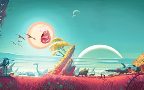 Wallpaper The sun, Art, Smith, Sanchez, Rick, No Man's Sky, Rick and Morty, Rick and Morty, ...