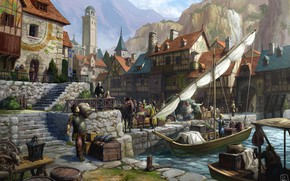 Picture water, the city, people, fantasy