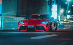 Picture Red, Auto, Night, The city, Machine, Supra, Toyota Supra, Concept Art, Science Fiction, Khyzyl Saleem, …