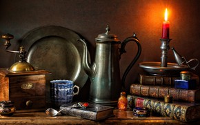 Picture style, books, candle, mug, still life, candle holder, dish, coffee grinder, coffee pot