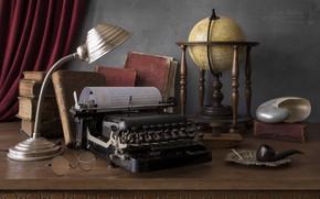 Picture books, lamp, tube, shell, glasses, typewriter, still life, globe