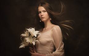 Picture look, girl, flowers, face, the dark background, Lily, portrait, bouquet, long hair