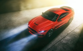Picture Mustang, Ford, Light, RED