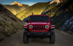 Picture the sky, mountains, red, the front, 2018, Jeep, Wrangler Rubicon