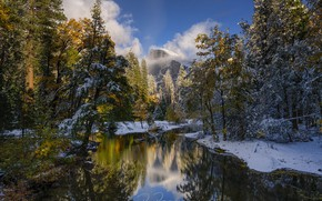 Picture forest, snow, trees, reflection, river, mountain, CA, California, Yosemite Valley, Yosemite national Park, Yosemite National …