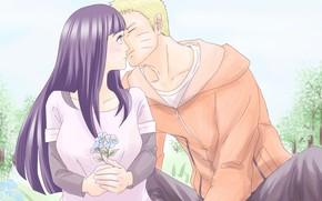 Picture flowers, kiss, pair, two, Naruto, Naruto, Naruto Uzumaki, Boruto, wife, Boruto, Hinata Hyuga