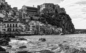 Picture rock, house, sea, Italy, monochrome, village, Scilla, Calabria
