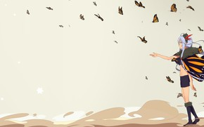 Picture butterfly, background, girl