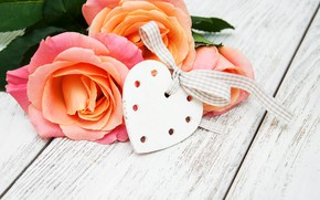 Picture flowers, heart, roses, love, heart, wood, pink, romantic, roses