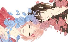 Picture flowers, romance, anime, Sakura, art, Sasuke, Naruto