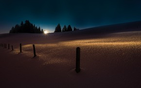 Picture clear sky, Winter, trees, landscape, nature, snow, morning, sun, hills, fence, sunrise, sun rays, pine …