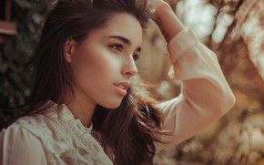 Picture pose, white, portrait, necklace, makeup, dress, hairstyle, brown hair, beauty, bokeh, Anne Hoffmann, kassio. epia