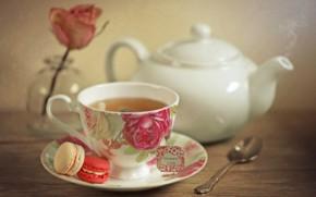 Picture tea, rose, Cup, teapot, macaron