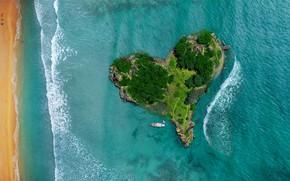 Picture sea, boat, heart, island, panorama