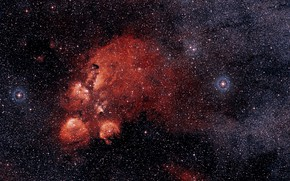 Picture Nebula, NGC 6334, Constellation Scorpius, DSS 2, Cat's Paw Nebula