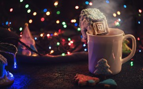 Picture lights, holiday, cookies, Christmas, mug, New year, drink, garland, bokeh, Christmas decorations, gingerbread, gingerbread house