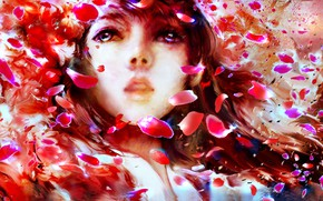 Picture girl, petals, by 00
