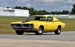 Picture Muscle, Classic, Coupe, Yellow, Dodge Charger
