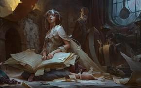 Picture girl, fantasy, book, artist, elf, digital art, artwork, wizard, fantasy art, sitting, kneeling, fantasy girl, …