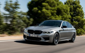 Picture road, trees, grey, speed, BMW, sedan, roadside, 4x4, 2018, four-door, M5, V8, F90, M5 Competition