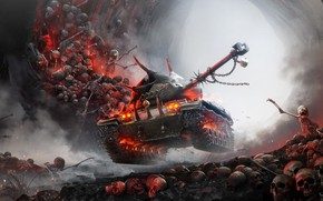Picture fire, smoke, art, spikes, sparks, bones, tank, Halloween, skull, cave, chain, poster, skeletons, Xbox, headlights, …