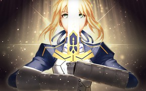 Picture look, girl, sword, the saber, Artoria Pendragon, Fate stay night, Excalibur, Fate / Stay Night