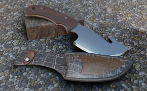 Picture knife, render, sheath, AlexStormND