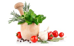 Picture greens, white background, vegetables, garlic, tomatoes