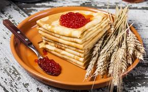 Picture wheat, spoon, ears, pancakes, caviar, carnival, caviar, pancake
