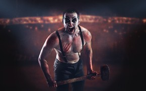 Picture pose, laughter, clown, makeup, sledgehammer, braces, Sergey Stepanov