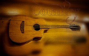 Picture music, yellow, wood, country, strings, Kide FotoArt, Trembita, Acoustic guitar