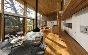 Picture interior, kitchen, fireplace, living room, dining room, Camberwell House, by AM Architecture