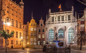Picture Gdansk, The Artus Court, Neptune fountain, lights, Poland
